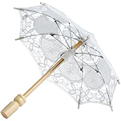 Kanstore Lace Embroidered Parasol Umbrella For Bridal Wedding Party Decoration,Photo Props( White)