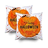 ROOLAYS Decorative Throw Square Pillow Case Cover 16X16Inch,Cotton Cushion Covers Happy Halloween Poster on bright watercolor Both Sides Printing Invisible Zipper Home Sofa Decor Sets 2 PCS Pillowcase