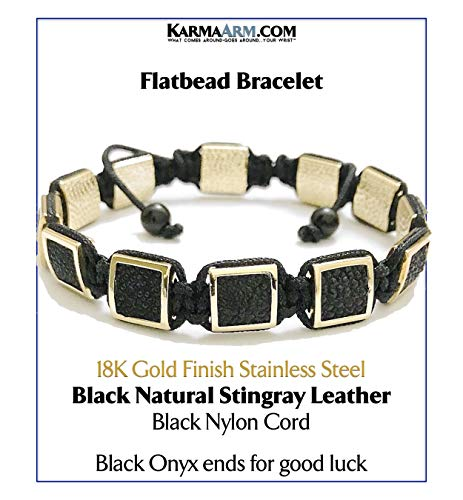 Black Onyx Square Bracelet - KarmaArm FlatBead Wristband Bracelet | Black Natural Stingray Leather | 18K Gold Finish Stainless Steel | Black Cord | Adjustable Meditation Mens Flat Bead Jewelry (7)