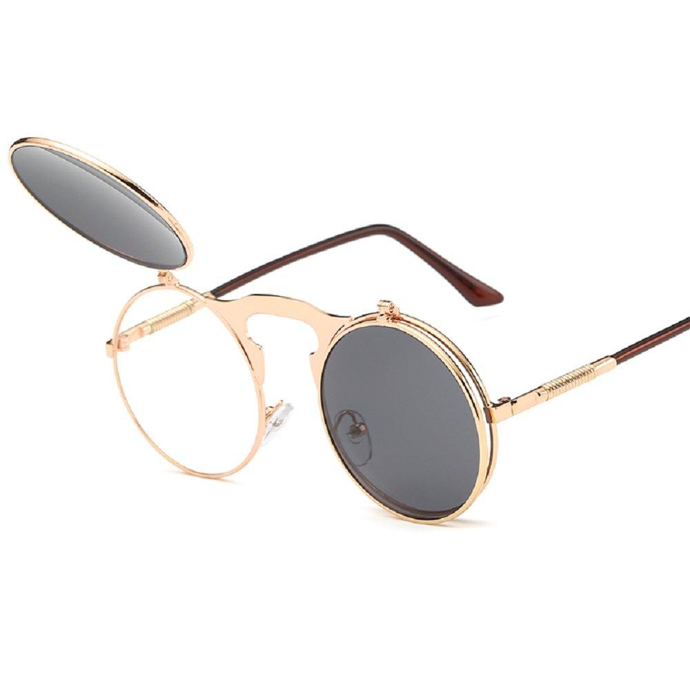 Ynxing retro Steam punk Clamshell occhiali da sole per sci, guida Golf ciclismo campeggio sport e attività all' aperto, Silver frame deep blue