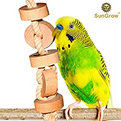 SunGrow Wooden Bird Chew Toy (1 pc) - Hanging Wood Cookies for Pecking and Chewing - Natural Pithy Wood Blocks and Safe Cotton Rope - Great for Parrots, Macaws, African Greys and Conures