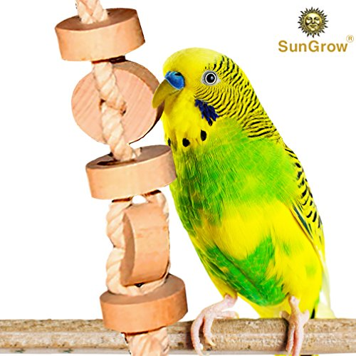 - SunGrow Wooden Bird Chew Toy (1 pc) - Hanging Wood Cookies for Pecking and Chewing - Natural Pithy Wood Blocks and Safe Cotton Rope - Great for Parrots, Macaws, African Greys and Conures