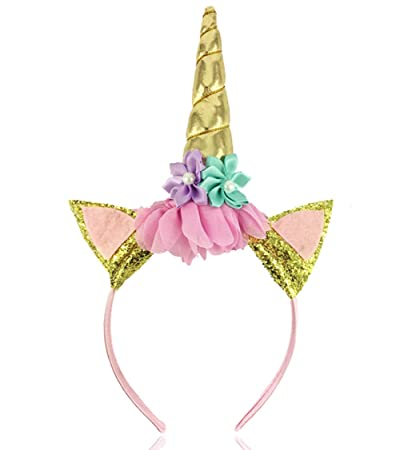 Image Unavailable. Image not available for. Color  Unicorn Horn Headband  Flowers ... efd0ec1f01d