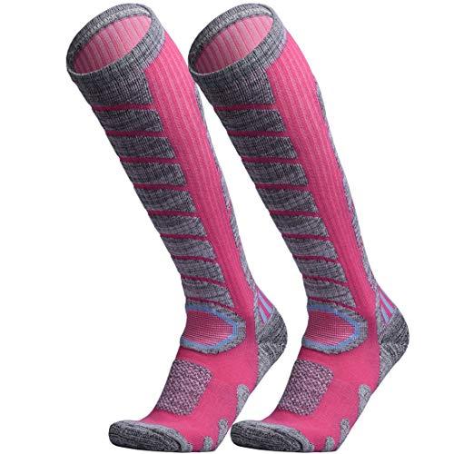 (WEIERYA Ski Socks 2 Pairs Pack for Skiing, Snowboarding, Cold Weather, Winter Performance Socks Pink Medium )