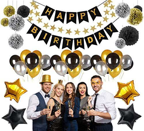 HAPPY BIRTHDAY PARTY DECORATIONS KIT, (45pcs) Value Pack - Silver, Black and Gold Helium Balloons with Banner, Birthday Decorations & Birthday Party Supplies, Birthday Party Set For Men & Women, Party Supply ()