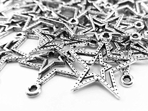 (Youkwer 100Pcs 21mm x23mm Vintage Metal Alloy Double Star Sign Christmas Charms Beads Pendants for DIY Crafting and Earring Necklace Bracelet Jewelry Making Findings Accessories(Antique)