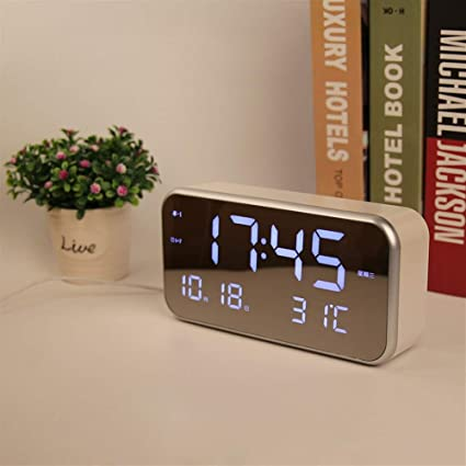 Warm and Beautiful Mirror Clock Big Screen LED Digital Multi-Function Music Alarm Clock for
