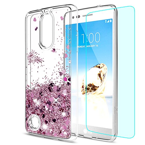 LeYi ZY101701 LG Aristo Case, Risio 2 Case, Phoenix 3 Case, Fortune/Rebel 2 LTE/K8 2017 Case with HD Screen Protector for Liquid Glitter Sparkle Cute Girls/Women Clear TPU Case for LV3 ZX - Rose Gold