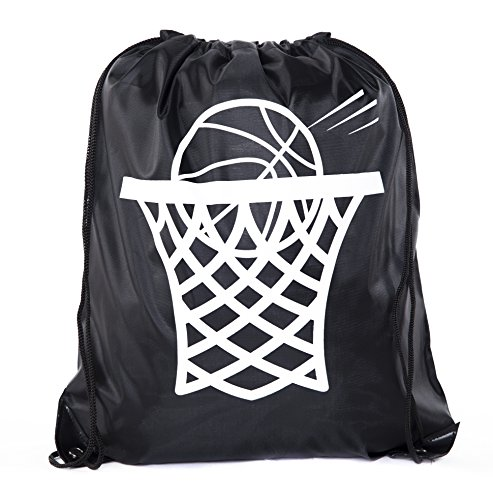 Team Logo Drawstring Backpack (Goodie Bags for Kids   Drawstring Gift Bags with Logo for Bdays, Parties + More - 10PK Black CA2500PTY Basketball)