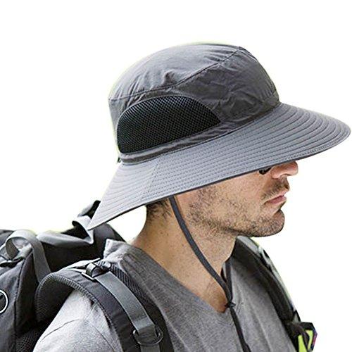 POPPAP Men's Beach Sun Hats,Summer Outdoor Wide Brim Bucket Windproof Fishing Activity UV Protective String Adjustable Dark Gray Color Hat