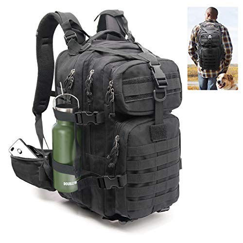 Expandable Military Highland Tactical Backpack 30L Jungle Camo Conceal Carry Laptop 17 Inch, Molle Accessories Bug Army Assault Pack Rucksack Daypack Kit Travel for men women Outdoor Hiking (black)