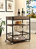 Vintage Brown Black Metal Industrial Style 3-tier Serving Wine Tea Dining Kitchen Cart with Bottle Holder