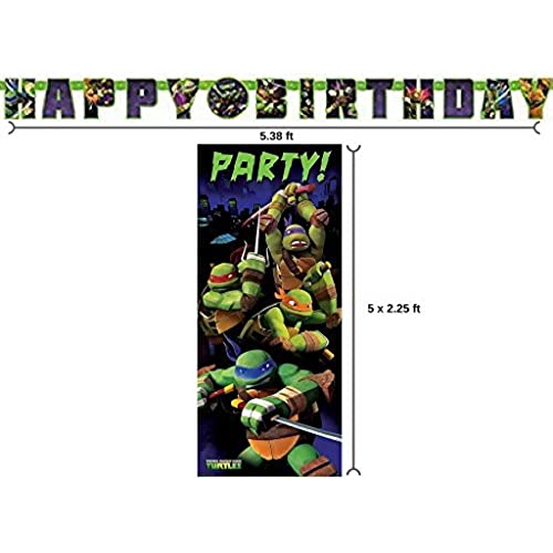 Teenage Mutant Ninja Turtle Birthday Banner And 225ft X 5ft Party Door Poster By BT