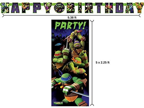 Teenage Mutant Ninja Turtle Birthday Banner and 2.25ft x 5ft Party Door Poster by BT