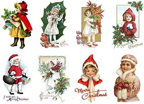 "Large Stickers (each sticker 2.5x3.5"", 8 pics on sheet) Vintage Christmas Happy Kids FLONZ Craft"