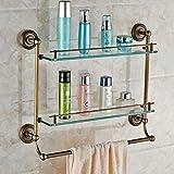 JinRou Unique design style European copper antique double bathroom glass shelves