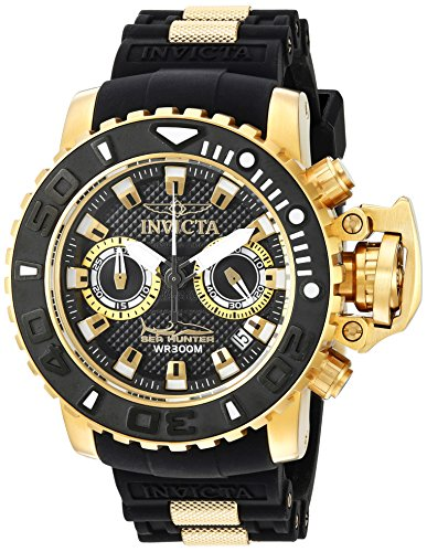 Invicta Men's 'Sea Hunter' Swiss Quartz Stainless Steel and Silicone Casual Watch, Color:Black (Model: 20475)