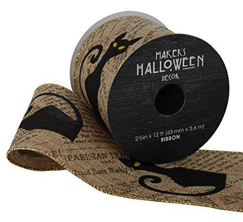 Maker's Halloween Ribbon 2.5'' x 12' Black Cats on Newsprint for $<!--$18.99-->