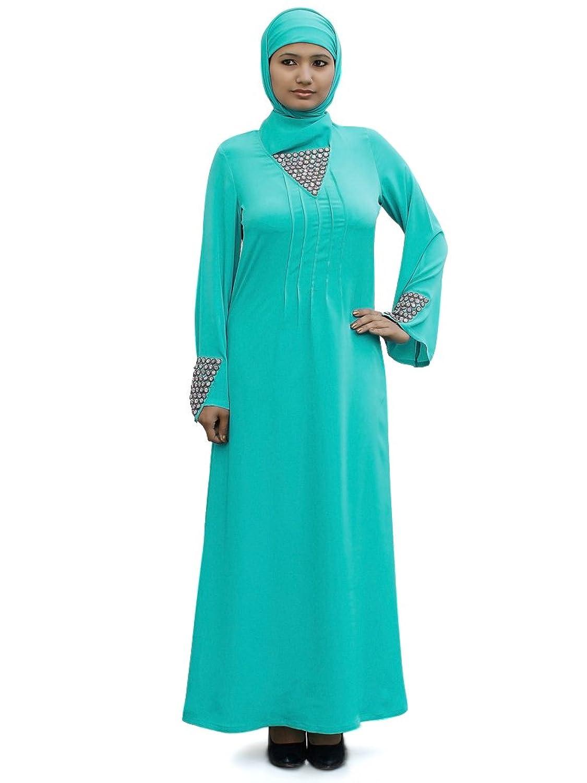 MyBatua Women's Islamic Party Wear Abaya in Turquoise Green