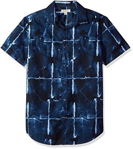 Calvin Klein Ck Grid - Calvin Klein Jeans Men's Short Sleeve Button Down Shirt Abstract Grid Print, Sky Captain, L