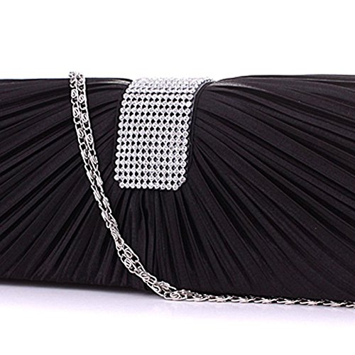 Black SATIN BAG NEW WOMENS PLEATED HANDBAG PROM DIAMANTE LADIES CLUTCH Black BRIDAL WEDDING Pq15qF