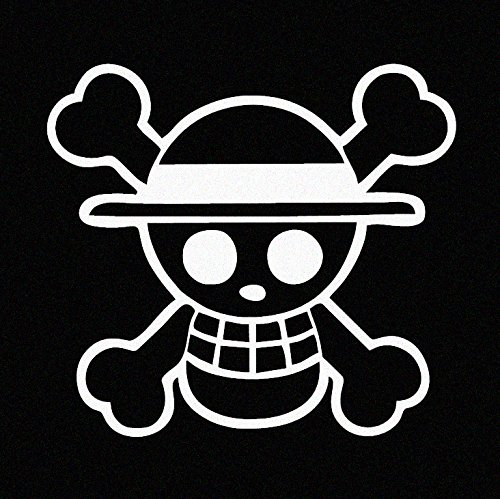 One Piece Luffy Straw Hat Pirate Anime Car Decal Sticker (cars, laptops, windows) WHITE