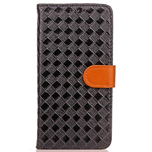 SRY-Funda móvil Samsung Para la cubierta protectora de la caja de cuero de la PU de Samsung Galaxy S8, estilo que teje la caja magnética del modelo con la función del soporte y de la cartera ( Color : Black