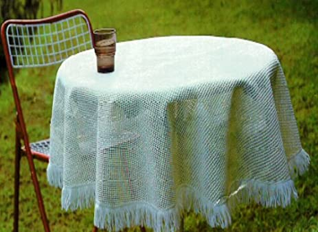 Sana Enterprises Our Crochet Non Skid Vinyl Patio Outdoor Tablecloth Adds  Elegance, Round ,