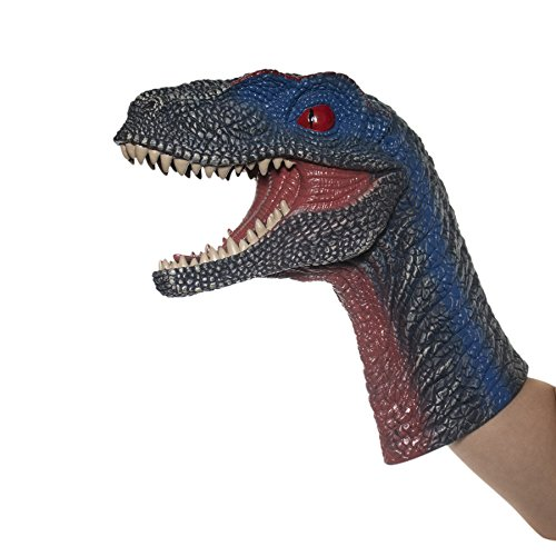 ScienceGeek Dinosaur Velociraptor Hand Puppet Gloves Soft Rubber Realistic Animal Head Figure Vividly Kids Toy Model Gifts ()