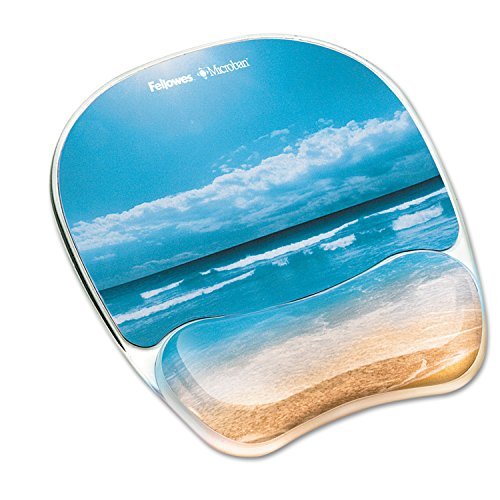 Fellowes Photo Gel Mouse Pad Wrist Rest with Microban Protection - Sandy Beach - 0.9quot; x 9.3quot; x 7.9quot; - Multicolor - Rubber, Polyurethane, Gel