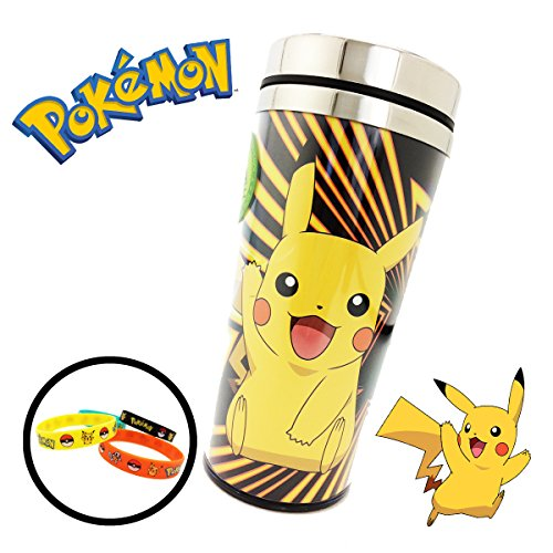 [Pokemon (16 oz ounce) (473 mL) Travel Thermos Coffee Mug Cup Lid & 4-Pack Bracelets - Great for Camping Outdoors Office Work Birthday Gift Back to School Backpacks] (Back To School Theme Party Costumes)