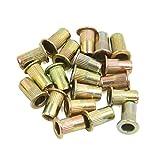 uxcell® 20 Pcs M5 Bronze Tone Carbon Steel Thread Flat Head Rivet Nut Insert Nutserts