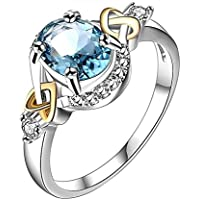 AutumnFall Women Fashion Wedding Engagement Ring Silver Plated Alloy Crystal Jewelry Rings (Size 9, Blue)