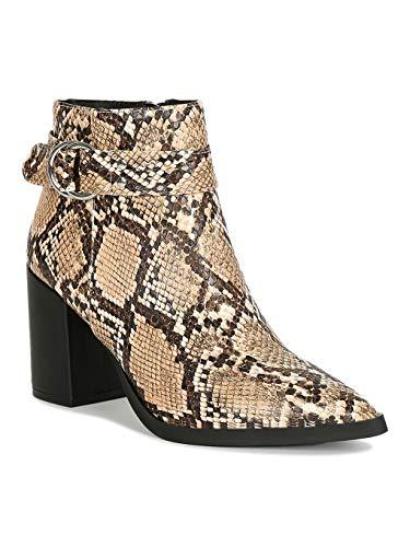Alrisco Women Pointy Toe Loop Strap Chunky Heeled Booties RI63 - Beige Brown Snake (Size: 8.5) (Print Qupid Animal)