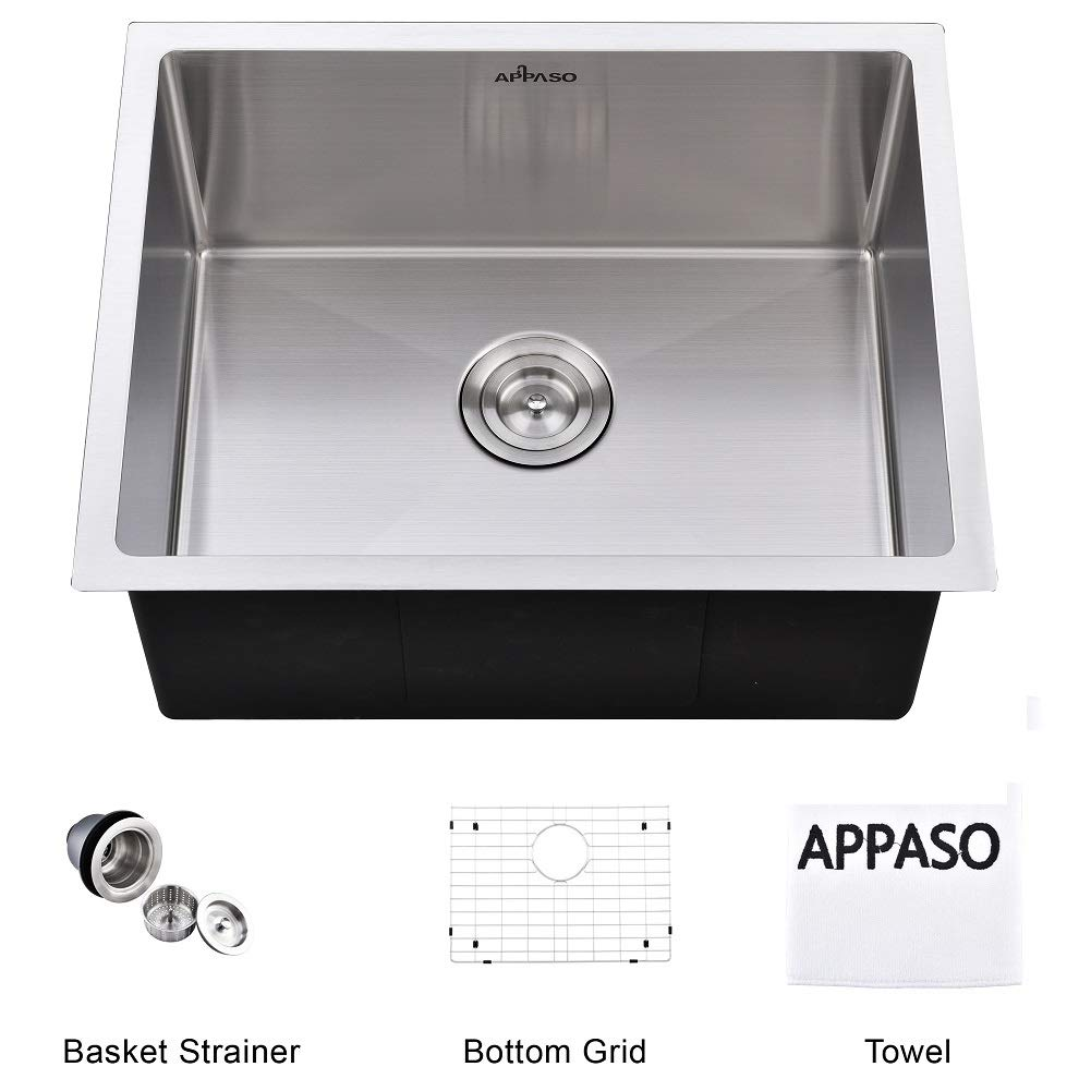 APPASO 23-Inch Handmade Single Bowl Kitchen Sink Undermount, Commercial 18-Gauge Stainless Steel 10-Inch Deep Drop-In Laundry Utility Sink, R231810 by APPASO