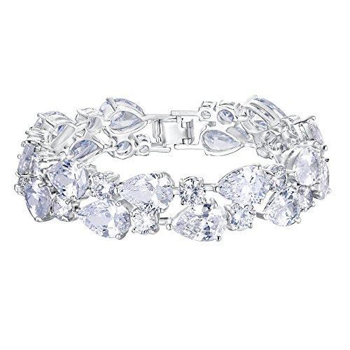 EVER FAITH Women's Prong Cubic Zirconia Vintage Style Dual Layer Tear Drop Bracelet Clear Silver-Tone
