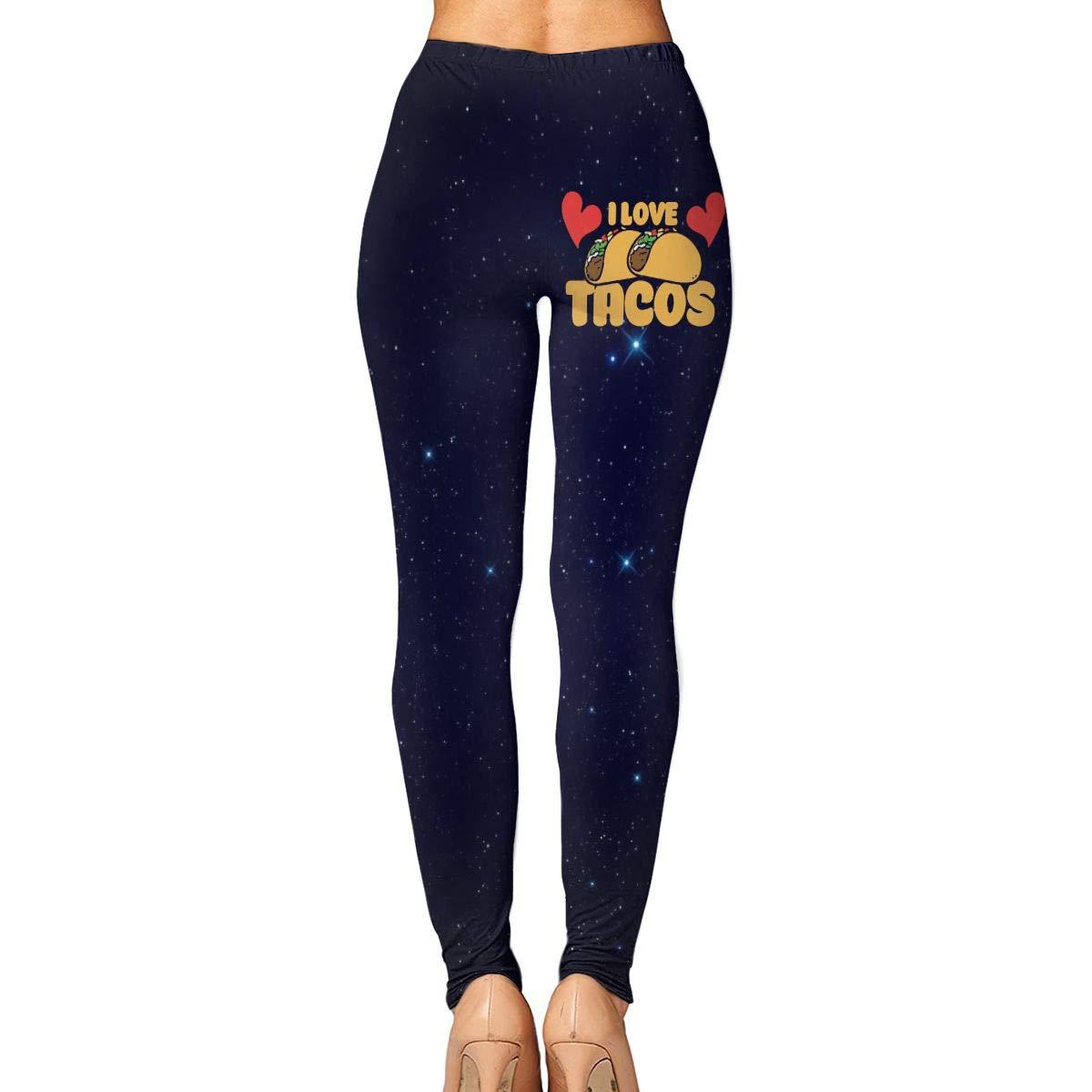 Amazon.com: I Love Tacos Womens Yoga Pants High Waist Capri ...