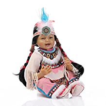 HerIn Rare Native American Indian reborn baby doll, Vinyl Lifelike Newborn Baby Toddler Doll, Birthday Xmas Gift 22in 55cm