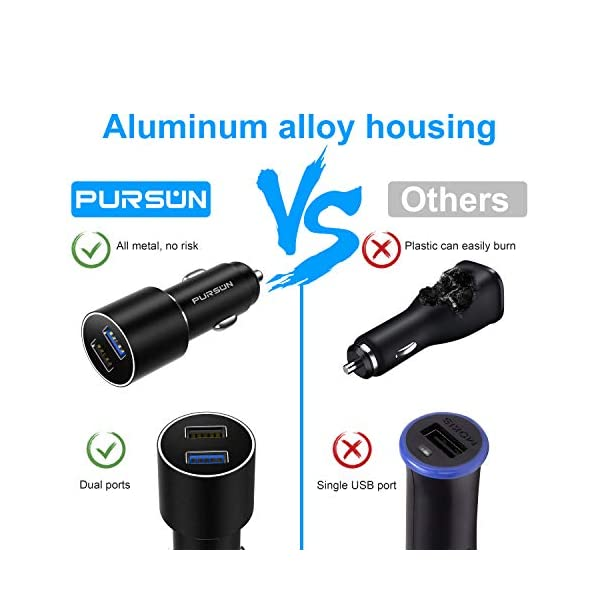 2020-Updated-Aluminum-Alloy-Car-Charger-Dual-USB-Quick-Charge-30-Fast-Charging-Adapter-No-Risk-of-Fire-18W-36A-Output-for-iPhone-iPad-Pro-Samsung-Galaxy-Google-Pixel-Nokia-and-More-Devices
