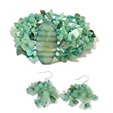 Green Aventurine, Green Glass Rhodium Plated Silver Bracelet 70'' and Earring for Women
