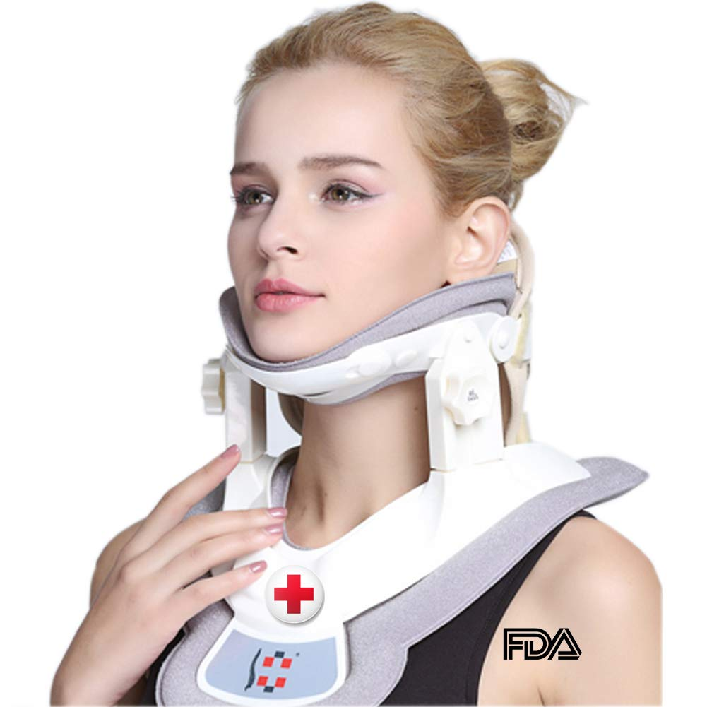 Cervical Neck Traction Device - Neck Massager & Collar & Brace - Neck & Shoulder Pain Relief - Stretcher Collar for Travel/Home Improved Spine Alignment by Jimugor