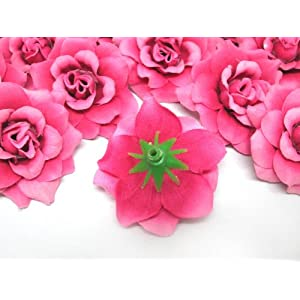 "(100) Silk Fuchsia Roses Flower Head - 1.75"" - Artificial Flowers Heads Fabric Floral Supplies Wholesale Lot for Wedding Flowers Accessories Make Bridal Hair Clips Headbands Dress 3"