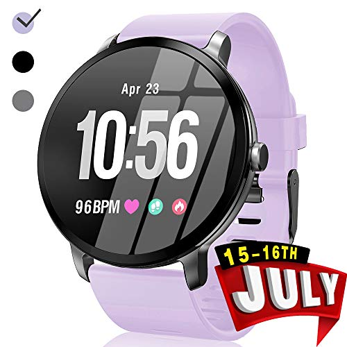 Sport Fitness Tracker Watch Waterproof for Android/iOS Women, Women's Smartwatch with Heart Rate Blood Pressure/Oxygen Monitor Sleep Music Play Purple Tape HD Colorscreen Summer Gifts for Women Prime
