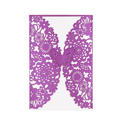 BingGoGo 30x Pearl Paper Laser Cut Invitations , For Baby Shower, Wedding, Mother's Day ,Brides Bridal Shower, Graduation Celebration, Birthday, Party Invitation,Thank You Cards (Purple Invitations)