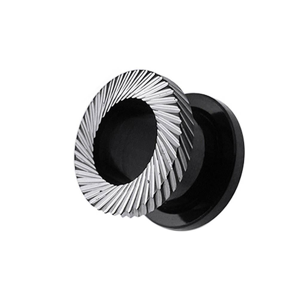 14MM Blackline Anodized Surgical Steel Slant Mill Grooved Cuts Hollow -Fit Tunnel Plug
