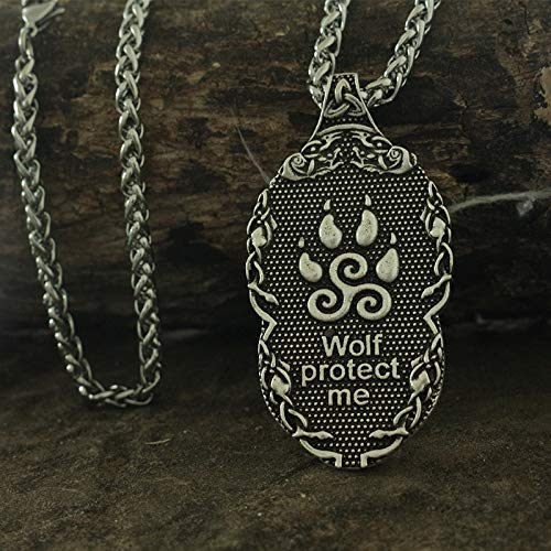 Davitu 1pcs Viking Wolf Pendant Wolf Totem Men Necklace The Wolf Protect me Metal Color: Bronze Wolf Chain, Length: 70cm