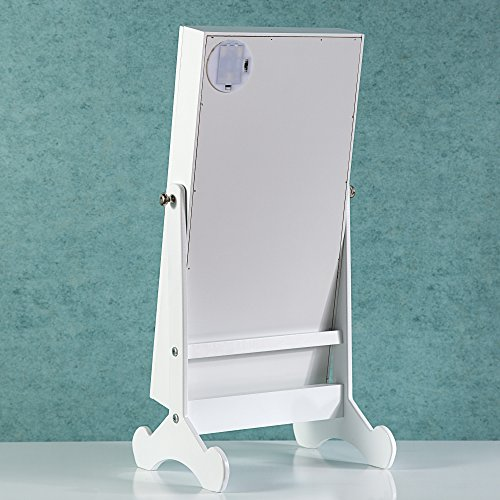 Cloud Mountain Make Up Mirrored Jewelry Cabinet Free Standing Jewelry Armoire Mini Table Tilting Jewelry Organizer, White by Cloud Mountain (Image #8)