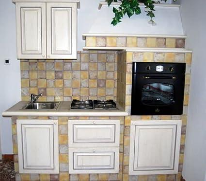 Cucina finta muratura mobili legno panna anticato Contessa nuova da ...