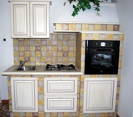 Cucina finta muratura mobili legno panna anticato Contessa nuova ...