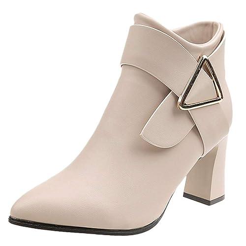 Tefamore Botas Mujer Invierno Tacones Gruesos de la Vendimia de Las Mujeres Tacones Gruesos Botines Cortos con Cremallera Botines Zapatos Mujer Plataforma: ...